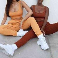 Donne Casual Tracksuit Cotton Fashion Bra Pants Fitness 2 Pezzo Vestito Autunno Gym Gym Sportwear in esecuzione Allenamento Yoga Set 210802