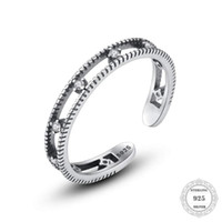 Cluster Rings Genuine 925 Sterling Silver Retro Pave Zircon Wedding For Women Minimalist Thin Circle Gem Jewelry
