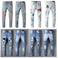 Модный дизайнер худые мужские джинсы прямые тонкие эластичные джинсы мужские повседневные велосипед мужские растягивающие джинсовые брюки классические армии зеленые черные голубые разрушенные штаны