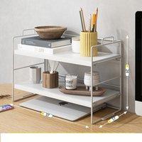 Hooks & Rails Double Shelf On The Desk Of Study Room Cosmetic Storage Rack Holder Bathroom Accessories Kitchen Sundries Basket Organizer