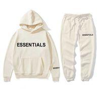 Novo Hoodie Terno Homens e Mulheres Essentials Kanye Letras Imprimir Suéter + Sweatpant Homens Pullover Hoodie Calças de Desporto Calças de Esportes X0610