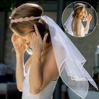 Два слоя Flash Crystal растягивающиеся повязки свадьба свадьба свадебные вуаль цветок девушка свадебные вули волос венок для свадебных аксессуаров