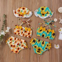 Summer Baby Girls Bikini Sets Sunflowers Ruffles Belt Strapless Tops Shorts Hats Swimwear Clothes Outfit Clothing