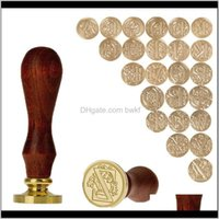 Arts And Arts, Crafts Home & Garden Drop Delivery 2021 Retro Wood Wooden 26 Letter A-Z Wedding Greetings Sealing Wax Seal Stamp Post Decorati