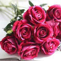 Decorative Flowers & Wreaths 10pcs set Artificial Bouquet Fabric Rose Wedding Home Party Decoration For Wedding, Decor, Book Store, Cafe Dec
