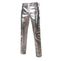 Men's Jeans Calça de couro masculina, calça pu da moda, slim, skinny, com zíper, brilhante, para motocicleta, hip hop LDPC