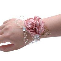 HS Bridal 6 Farbe Brautjungfer Handgelenk Corsage 2019 Party Rose mit Perlenarmband Seide Blumen Band Braut Hochzeitsdekoration
