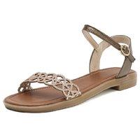 Yaz Ayakkabı Kadın Sandalet Flats Rahat Kayış Gladyatör Hakiki Deri Moda Altın Plaj Düz Zogeer