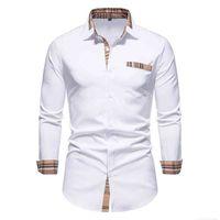 Parklees Jesień Plaid Patchwork Formalne Koszule Dla Mężczyzn Slim Long Rękaw Biały Przycisk Sukienka Sukienka Biznesowa Biuro Camisas