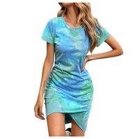 Casual Dresses Women-clothing Summer Tie-dye Printing Short-sleeved Sexy Dress Vestidos Verano Trafic Femme Mode Chic Tenue De Burea