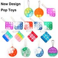 Christmas Mini Push Pop Bubble Sensory Toy Autism Needs Squishy Stress Reliever Toys Adult Child Funny Anti-stress It Fidget Keychain