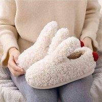 Kış Bayanlar Terlik Sevimli Bunny Kulakları Terlik Sıcak Peluş Ayakkabı Kadınlar Kapalı Homen Ev Terlik Kadın Kadın Düz Ayakkabı 210408