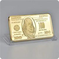 Памятные США 100 долларов 24k Gold Bar 44 * 28 * 3 мм Площадь металла Знак Crafts Коллекция Сувенирной монета Драгоценные металлы