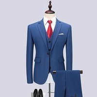 New men's suit three-piece suit (jacket + pants vest) fashion casual solid color suit wedding groom groomsmen dress custom
