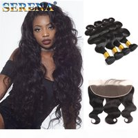 Brazilian Body Wave Virgin Hair Bundles with 13x4 Lace Frontal Bundles Wet and Wavy Body Wave Lace Front Weaves 4 Bundles With Closure 5pc