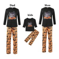 Halloween family outfits long-sleeved pumpkin striped printed pants soft holiday parent-child wear