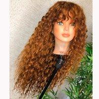 Pelucas de encaje Jengibre Rubia Bouncy Rizado 13x6 Frente Humano Hair Baby Silk Base de seda llena con flequillo 360 Frontal franja