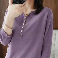 Women's T-Shirt Cotton Knitted Solid Color Half Sleeve Casual Large Size Hedging V-neck Regular 2021Summer Thin Short