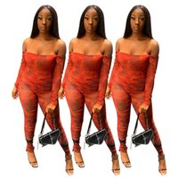 Women Jumpsuits Rompers fall winter clothes sexy club fitness slash neck off shoulder long sleeve leggings full-length pants chest wrap running gym strapless 01733