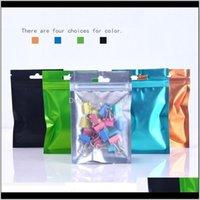 Sacos de Armazenamento Matte Plástico Colorido Colorido Folha de Alumínio Zíper Bolsa Vae Fosco Mylar Fosco Mylar Hang Bag LX0696 7ZZNS CYEGU