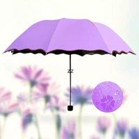 200 unids / lote 3-doblado a prueba de polvo anti-uro paraguas sombrilla paraguas mágica flor cúpula protector solar paraguas portátil HWA7569