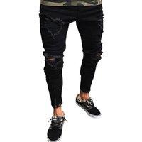 Jeans legal do desenhador masculino rasgado destruído motociclista Jena flanging preto trecho magro Slim Fit Hop Calças com buracos para homens