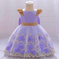 Kızın Elbiseleri Kabarık Mor Balo Tül Çiçek Sequins Vaftiz İlk Communion Elbise Yay Düğüm Floweer Kız Düğün