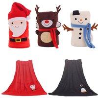 Cartoon Noël Flanel Couverture de flanelle Tapis pliable Père Noël Santa Claus Snowman Penguin Deer Motif Tapis Doux Couvertures Mer Navire GWB6449