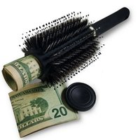 Secret storage boxs Hair Brush Black Stash Safe Diversion Secret Security Hairbrush Hidden Valuables Hollow Container Roller comb T2I52253