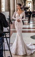 Bohemian Mermaid Wedding Dresses Lace Appliqued Beaded Berta Sweep Train Boho Bridal Gowns Plus Size Open Back abiti da sposa