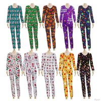 Sexy Women Jumpsuit Halloween Christmas Printed Long Sleeve Deep V Pajamas Onesies Plus Size Ladies Fashion Party Bodycon Clothes