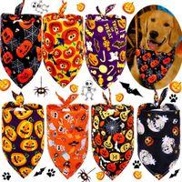 Dog Apparel Puppy Triangle Saliva Scarf Skeleton Pumpkin Printed Bandana Dogs Neckerchief Halloween Pet Supplies LLA9131