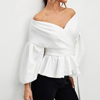 Solid Soft Polyester Daily Elegant Holiday V Neck Women Blouse Off Shoulder Long Sleeve Casual Tie Waist Party Ruffle Women's Blouses & Shir