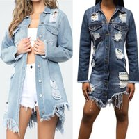 Women's Jackets Women Denim Coat Ripped Long Ladies Streetwear Casual Tearing Style Button Jacket Overcoat Basic