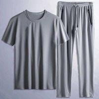 Ice silk tshirt suit for men elastic mesh casual pants men's sports shorts