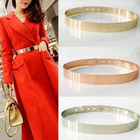 Belts Fashion Women Adjustable Metal Designer Belt Bling Gold Silver Plate Vintage Ladies Dress Simple Luxury Mirror Waistband