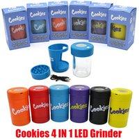 쿠키 4 in 1 LED 글로우 항아리 건조 허브 담배 컨테이너 가방 유리 저장 재충전 용 병 분쇄기 돋보기 타자 디자인