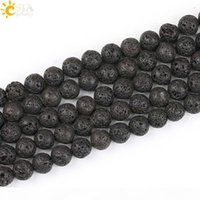 CSJA 10mm Wholesale Handmade Necklace Bracelet Jewelry Making Natural Black Lava Round Bead with Hole Volcanic Rock Stone Loose Beads E193 D