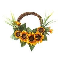 Декоративные цветы венки венок подсолнечника искусственное украшение дома моделирование кулон ротанга кольцо + шелкостная ткань стиль эвкалипта GA
