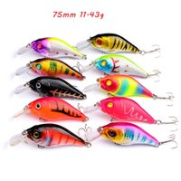 10 Color Mixed 75mm 11.43g Crank Fishing Hooks 6# Treble Hook Hard Baits & Lures Pesca Tackle Accessories WA_607