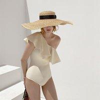 Women's Swimwear Ruffled One Piece Swimsuit Sexy One-shoulder Slim Tight Solid Bathing Suit Monokini Beachwear Bandeau