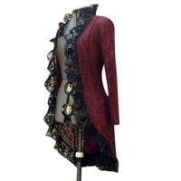 سترة طويلة اللباس خمر المرأة القرون الوسطى steampunk الوقوف طوق الدانتيل يصل سترة سيدة الخريف الأسود فساتين حمراء عارضة