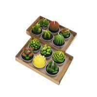 12pcs cactle vela bonito mini conjunto artificial plantas suculentas velas decoração de casa candle chea luz melhor presente de natal