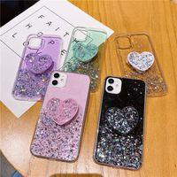 Star scintillant Girly Love Heart Stand Coques de téléphone pour iPhone 12 Mini 11 PRO X SE2 XS MAX 7 8 6S PLUS 5S XSMAX XR couverture