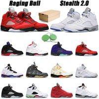 Raging Boğa Basketbol Ayakkabı Jumpman 5 S Stealth 2.0 Erkekler 5 Ateş Kırmızı Beyaz Çimento Erkek Trainer Spor Sneakerss