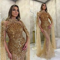 Robe de soirée paillette d'or luxueuse 2021 manches longues arabes Dubaï Sparkly Robes de bal scintille à la main tapis rouge Tapis spécial