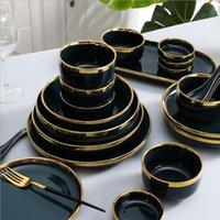 Позолоченные обод Темно-зеленая тарелка стейк Nordic Style посуда чаша посуда посуда посуда Высокая конечная фарфоровая посуда набор блюд тарелок