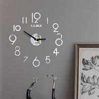 الاكريليك ساعة الحائط diy مرآة ساعة الحائط الفن أكريليك 3d مرآة ملصقا المنزل مكتب ديكور هدية فريدة من نوعها DHD7045