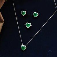Aankomst Sterling Zilver 925 Sieraden Set Emerald Gemstone Natuursteen Ketting / Oorbellen / Ring Bruiloft Engagement Sieraden