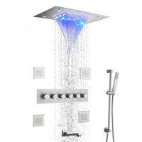 온도 조절 닦 았된 비 샤워 수도꼭지 시스템 욕실 믹서 세트 ceil 마운트 14 x 20 인치 LED 폭포 강우량 샤워 헤드